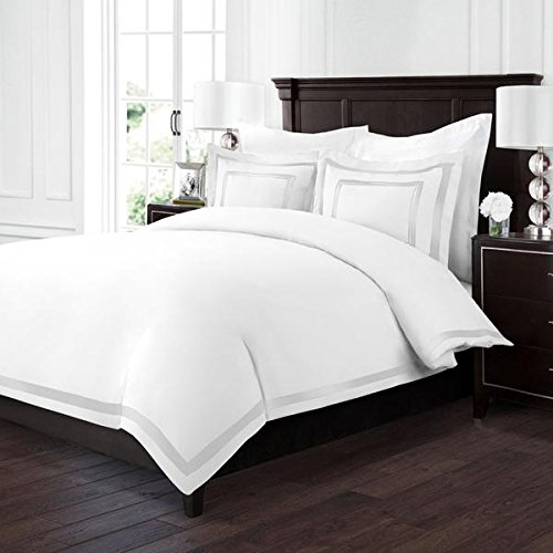 Sleep Restoration Luxury Soft Brushed Embroidered Microfiber Duvet Cover Set with Beautiful Trim & Embroidery Details - Hypoallergenic - Full/Queen - (Embroidered Duvet)