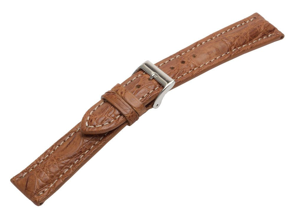 22mm Light Brown / Tan Genuine Crocodile Watch Band with Contrast Stitch
