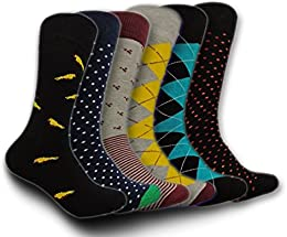Men's Casual & Dress Socks – Colorful & Funky Six Designs in One Pack - For Workplace & Everyday Use