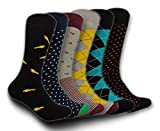 Men's Casual & Dress Socks – Colorful & Funky Six Designs in One Pack - For Workplace & Everyday Use (Multi Color)