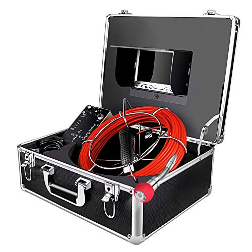 Borescope Camera 100ft Snake Cam with Distance Counter DVR Video Sewer Pipe Inspection Equipment 7 inch LCD Monitor Duct HVAC 1000TVL Sony CCD Endoscope Waterproof Ip68 Cable 30M (Free 8GB - Storm Sewer