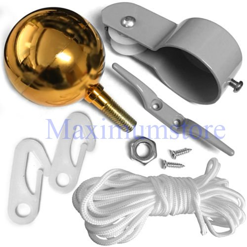 "Maximumstore FLAG POLE PARTS REPAIR KIT 2"" Diameter Truck Pulley Gold Ball Cleat Clips Rope"