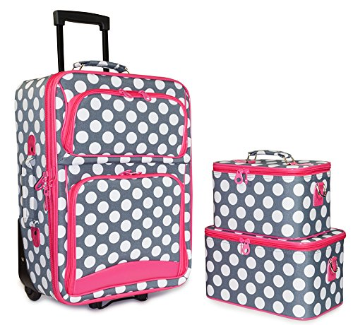 Ever Moda Pink Grey Polka Dot 3 Piece Carry On Rolling Luggage Set 20-inch