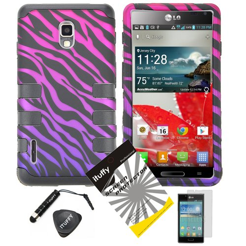 4-items-Combo-ITUFFY-TM-LCD-Screen-Protector-Film-Mini-Stylus-Pen-Case-Opener-Black-Pink-Purple-Zebra-Design-Rubberized-Hard-Plastic-Soft-Rubber-TPU-Skin-Dual-Layer-Tough-Hybrid-Case-for-Boost-Mobile-