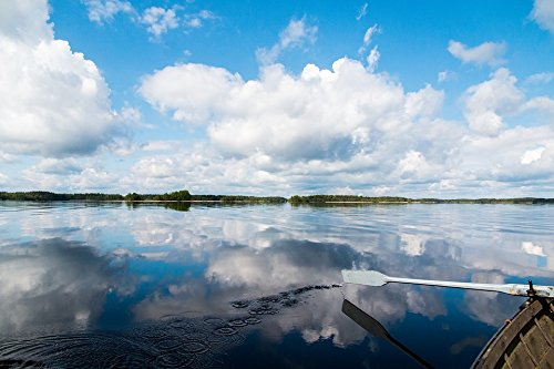 TED POSTER Lake The Oars Rowing Boat Finnish Cloud Landscape Poster 24x36 Decal (Laminated Oar)