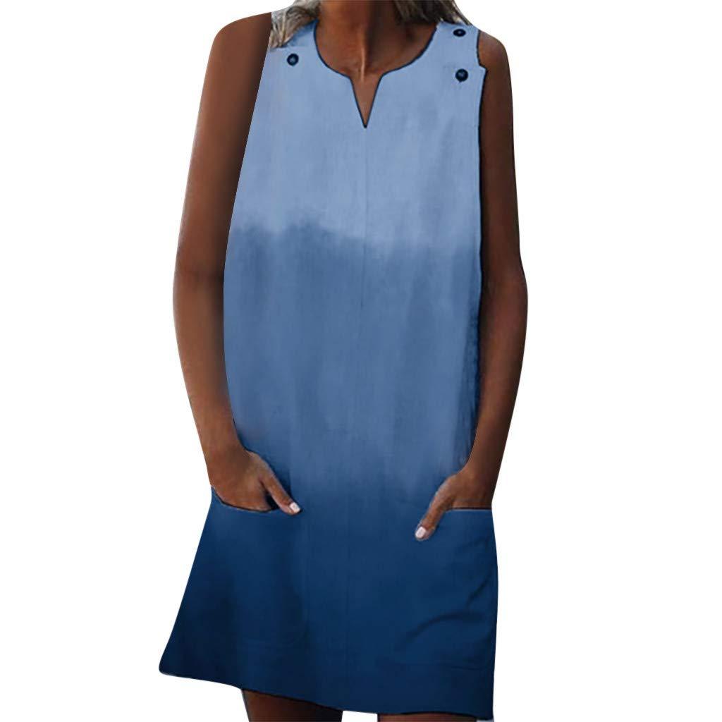 Woboke Fashion Women V Neck Casual Gradient Pocket Button Mini Sleeveless Dresses Blue