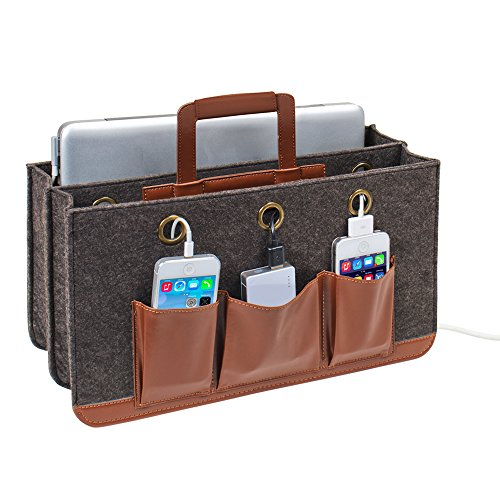 G.U.S. Portable Tech Station For Laptops, Tablets, Cell Phones and Other Portable Electronics.Rustic Modern Collection, Made of MDF & Brown Leatherette