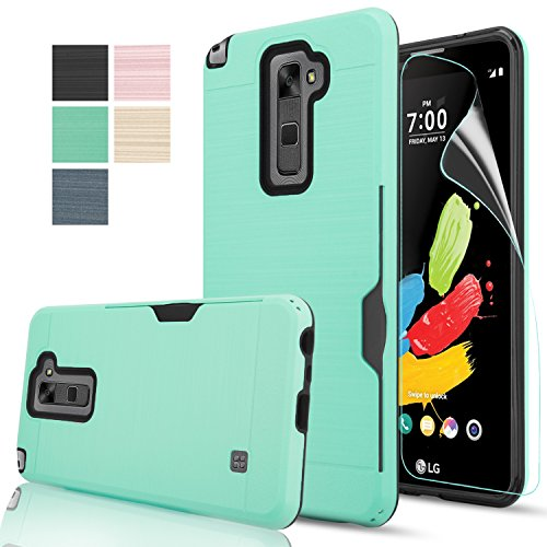 LG Stylo 2/Stylus 2/Stylo 2V/Stylo 2 Plus/Stylus 2 Plus case With HD Screen Protector AnoKe[Card Slots Holder][Not Wallet] Plastic TPU Hybrid Shockproof for LG LS775 Plus KC2 Mint