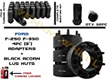 Complete Set 8x170 3'' Black Hubcentric F-250 F-350 SRW Adapter 125mm Hub + 32 Black Bulge Acorn Lug Nuts