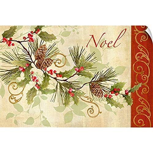 CANVAS ON DEMAND Holly Pine Cones Rectangle Wall Peel Art Print, 18