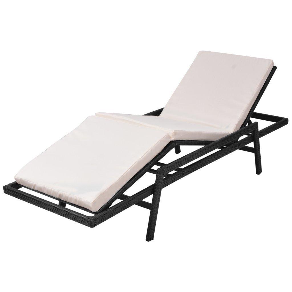 VidaXL Sonnenliege Poly Poly Poly Rattan Braun Gartenliege Gartenmöbel Relax Liegestuhl 001ce7