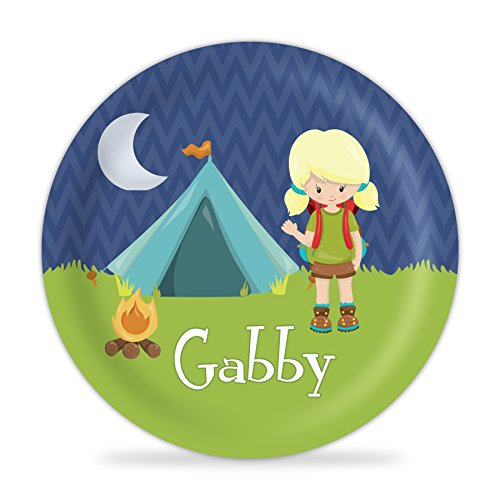 Camping Plate - Blue Tent Camping Melamine Personalized Name Plate by PurpleBerryInk