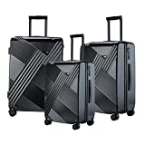 TPRC 3 Piece ''Percy Collection'' Premium 8-Wheel Luggage Set with TSA Lock System Includes 28'' Suitcase, 24'' Upright, and 20'' Carry-On, Black Color Option
