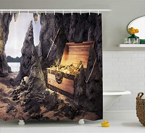 "Ambesonne Fantasy Shower Curtain, Open Treasure Chest with Gold Coins in Cave Pirate Fairy Illustration, Cloth Fabric Bathroom Decor Set with Hooks, 70"" Long, Charcoal Amber"