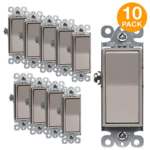 ENERLITES Elite Series Decorator Rocker Light Switch, 15A 120V/277V, Single Pole, 3 Wire, Grounding Screw, Residential Grade, UL Listed, 91150-NK, Nickel Color (10 Pack) ()