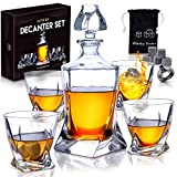Premium Glass Decanter Set with 4 Liquor Glasses - Rum, Scotch, Bourbon, Whiskey Decanter Set Mens Gift with 9 Cooling Whisky Stones & Funnel - Crystal Clear Liquor Decanter & Drinking Glass Set by HG