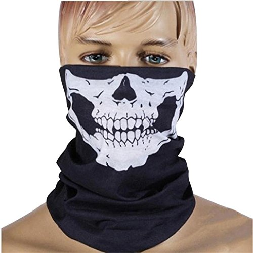 Westeng Black Skull Face Mask Stretchable Breathable Tube Face Mask Seamless Outdoor Mask for Motorcycle Biker Snowboards