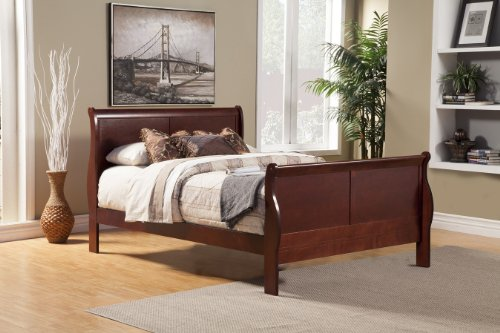 Alpine Furniture Louis Philippe II Sleigh Bed, Queen (Queen Size Sleigh Bed)