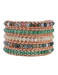 KELITCH Jade Agate Gems Beads Strand 5 Wrap Bracelets Handmade Natural Leather New women Jewelry