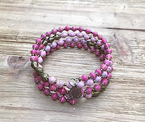 Paper Bead East African Infinity Wrap Bracelet - Pink - Fair Trade BeadforLife Jewelry