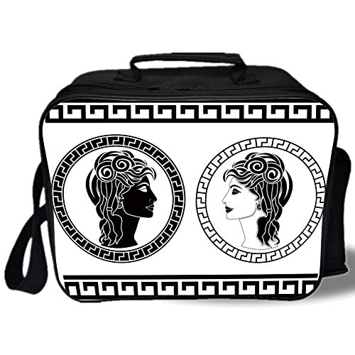 Toga Party 3D Print Insulated Lunch Bag,Roman Aristocrat Woman Profiles Circular Classical Frames Hairstyle Beauty,for Work/School/Picnic,Black White