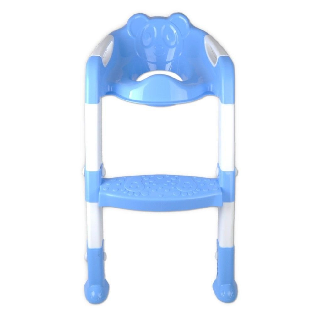 HuntGold Baby Foldable Potty Trainer Chair Toilet Seat Safety Non-Slip Ladder Stool New(Blue)
