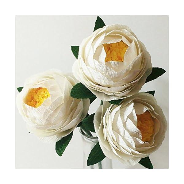 Crepe Paper Flowers Paper Peony Bouquet For Home Decoration/Wedding Decor 3pcs (Ivory White)