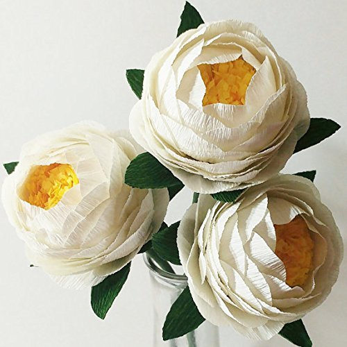 Amazon crepe paper flowers paper peony bouquet for home crepe paper flowers paper peony bouquet for home decorationwedding decor 3pcs ivory white mightylinksfo