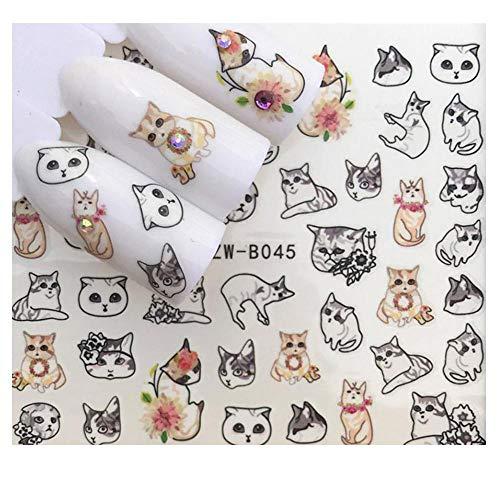 Full Sheet Black Cats - Kitty - Kitten - Nail Stickers - Salon Quality Nail Art Nail Wrap Nail Decals - 1 -