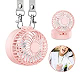 EasyAcc Battery Operated Necklace Fan Rechargeable Personal Fan with 2600mAh Battery and 3 Setting 6-18H Working Hours 180° Rotating Free Adjustment for Camping/Outdoors/Travel – Pink
