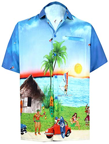 LA LEELA Mens Aloha Hawaiian Shirt Short Sleeve Button Down Casual Beach Party