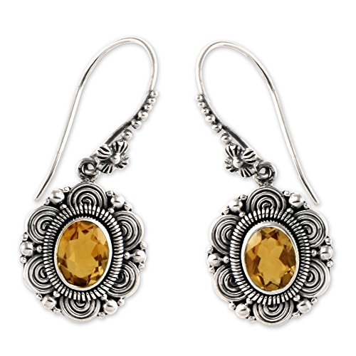 NOVICA Citrine .925 Sterling Silver Dangle Hook Earrings 'Balinese Sunflower'