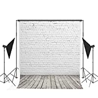 6.5x10ft Photography Backdrops White Brick Wall Background Light Gray Wood Floor Photo Studio Backdrop