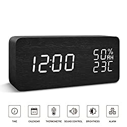 BlaCOG Alarm Clock Digital Desk Wooden Alarm Clock Upgraded with Time Temperature, Adjustable Brightness, 3 Set of Alarm and Voice Control - Black