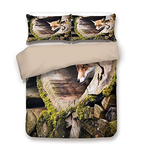 iPrint Duvet Cover Set,Back of Khaki,Animal,Forest Nature Wild Fox with Hazel Eyes in a Wooden Carved Tree wth Moss Art Print,Multicolor,Decorative 3 Pcs Bedding Set by 2 Pillow Shams,Queen