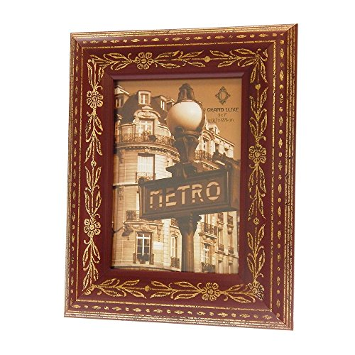 - Concepts in Time Picture Frame Rounded Wood Aged Gold Etched Design Rust Brown 5 by 7 Inches