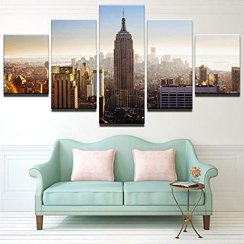 GUDOJK HD Impreso   Edificio de la Ciudad Paisaje Lienzo Pintura Los 5 Paneles de Parojo Mejor valorados para Living Ro Decor Art Imágenes modulares 20x35 20x45 20x55cm