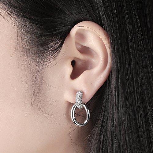 lelekiss Fashion plaqué or blanc cristaux avec accents de diamant Boucles d'oreilles créoles pour femme
