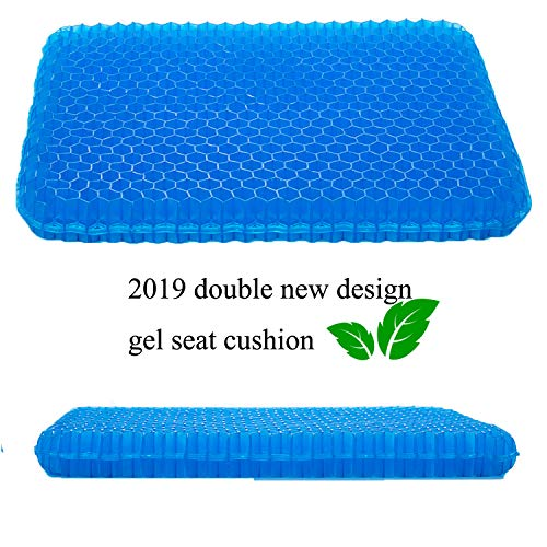 SESEAT Gel Seat Cushion Non Slip Cover Chair Cushion for Office, Truck Driver, Car, Wheelchair, Double Design Seat Cushion (Truck Driver Pressure Relieving)