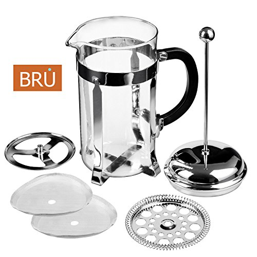 French Press Coffee Maker With Timer : Classic French Press - FREE TIMER INCLUDED - BRU USA Coffee & Tea Maker 8 Cup - 34 Oz Solid ...