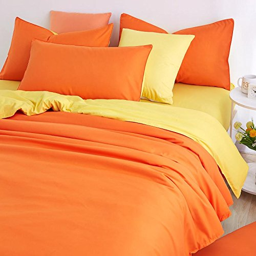4 Pieces Duvet Cover Set Orange and Yellow