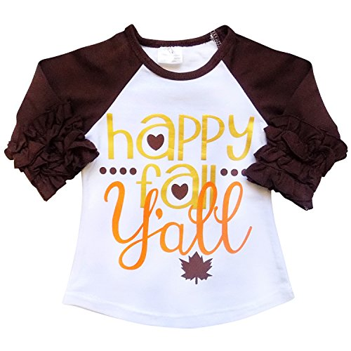 New So Sydney Toddler & Girl Fall & Winter Holiday Sparkle Ruffle Raglan T-Shirt (M (4T), Happy Fall Y'all) (Halloween Tshirts For Kids)