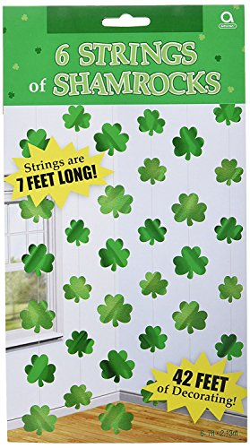 Lucky Irish Green St. Patricks Day Shamrock Foil String Party Decoration, Foil, 7, Pack of 12