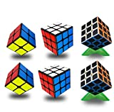 Speed Cube Set, 6 Pack Bundle Cube 2x2, 3x3, 3x3 Carbon Fiber, Easy Turning and Smooth Play Durable Puzzle Cube INTEGEAR