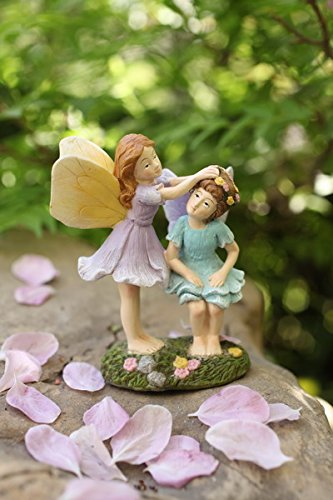 Miniature Fairy Garden Sisters 4 Inch, Hand Painted Resin Figurines, for Garden Indoor Decor Gift