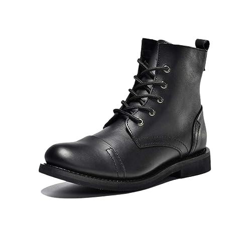 Botas de Piel para Hombres, con Cordones Antideslizantes, marrón, Negro, Juvenil, Estudiantes.: Amazon.es: Zapatos y complementos