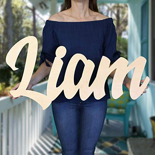 "Custom Personalized Wooden Name Sign 12-55"" WIDE - LIAM Font Letters Baby Name Plaque PAINTED nursery name nursery decor wooden wall art, above a crib from 48 Hour Monogram"