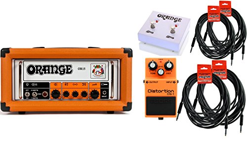 Orange Amplification OR15 Guitar Amp Head Amp Bundle w/ 6 free Items: 2x 10.0' Strukture Cables, 2x 18.6' Strukture Cables, 1x Orange Dual Function Footswitch FTSWCH-DUAL, 1x Boss DS1 Distortion