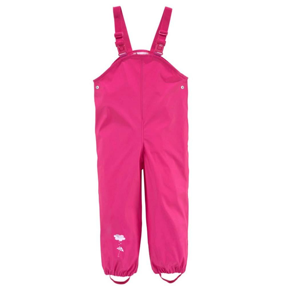 Kinder Mädchen Regnhose Regenlatzhose WasserdichteBuddelhose Matschhose mit Verstellbaren Trägern Sehr Atmungsaktiv 104)