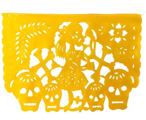 5 MT TexMex Fun Stuff F/ête Mexicaine Amor de Muertos Jour des Morts Papier de Soie Banni/ère Horizontale en Grande Guirlande en Plastique Tous Les Drapeaux comme sur la Photo
